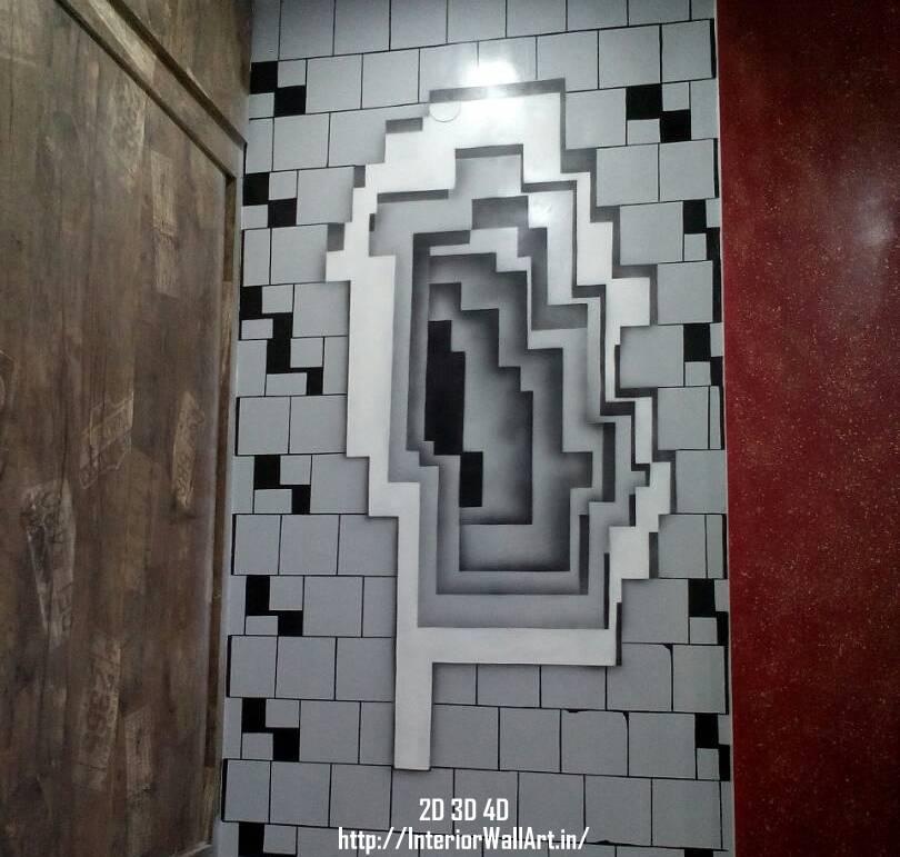 Illusion. A 3D wall art ... & Interior Wall Art :: 2D 3D 4D Wall Art Painting Designs